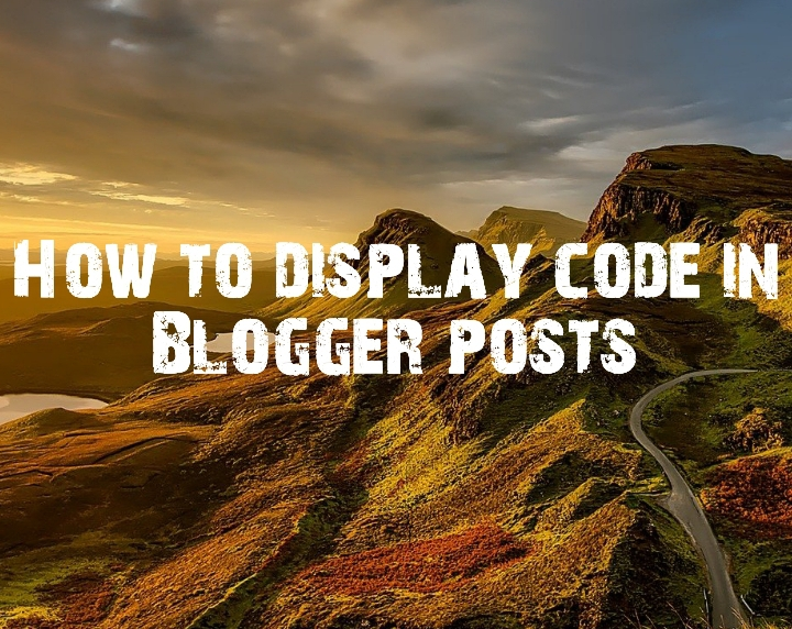 How to display code in Blogger posts image here
