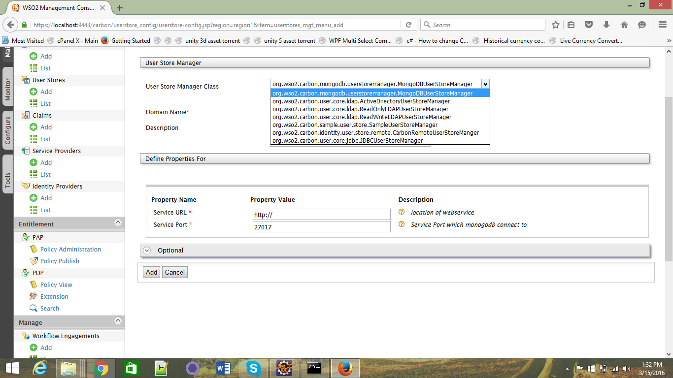 Create new User Store Manager to Support MongoDB in WSO2