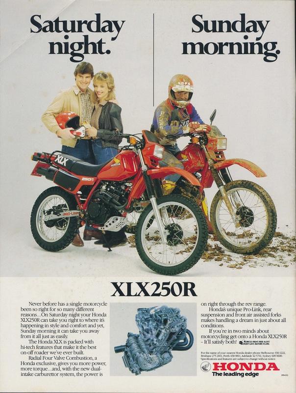 1983 Honda XL/XLX 250 Print Advertisement - Saturday Night, Sunday Morning