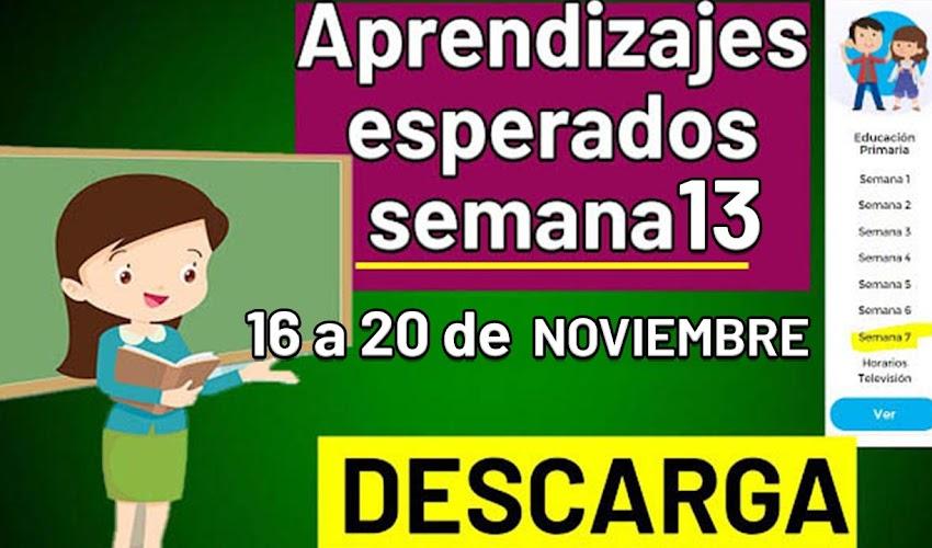 🧠🎒 DESCARGA los aprendizajes esperados de la semana 13 (16 a 20 de noviembre)