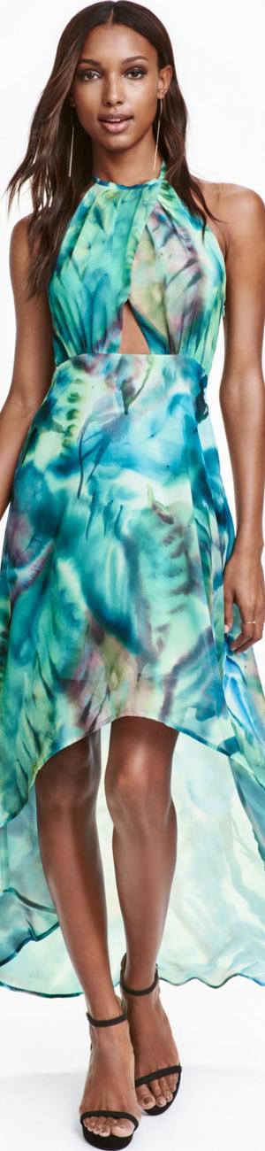 H&M Chiffon Dress Turquoise