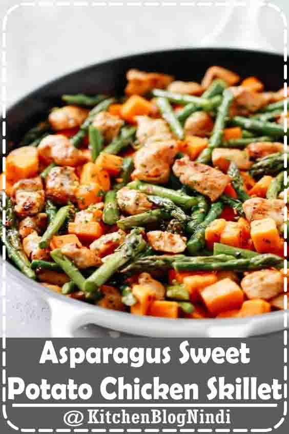 4.9★★★★★ | This Asparagus Sweet Potato Chicken Skillet recipe is a delicious, healthy, and easy-to-make meal that will be on your dinner table in less than 30 minutes. This is gluten-free, paleo, whole30, and perfect for your busy weeknight dinner. #Asparagus #SweetPotato #ChickenSkillet