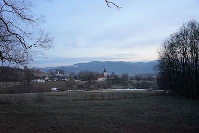 Rzut oka na Radomierz: na środku zdjęcia wieża widokowa,  a nieco z lewej kościół Matki Bożej Różańcowej