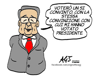 prodi, io voto si, vignetta, satira