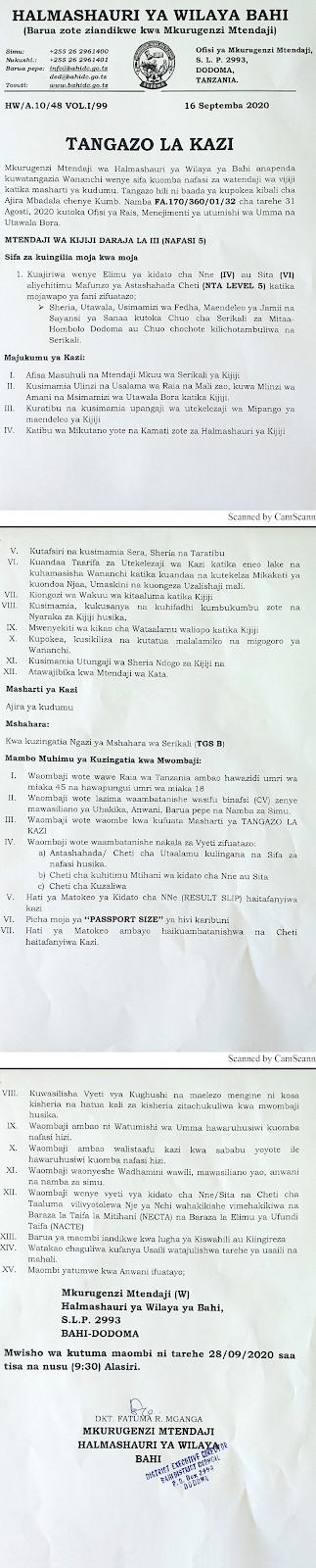 BAHI District Council Jobs (Watendaji 05)