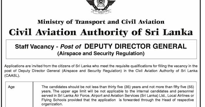 Vacancies at Civil Aviation Authority of Sri Lanka