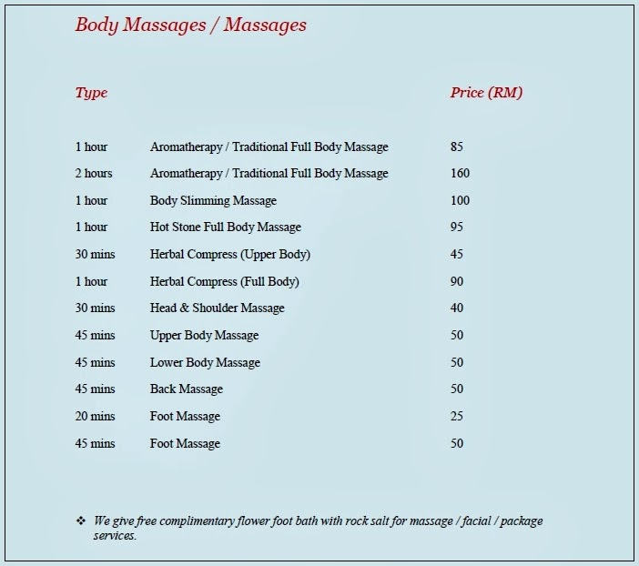 Body massages. Sumber: Anjung Jelita