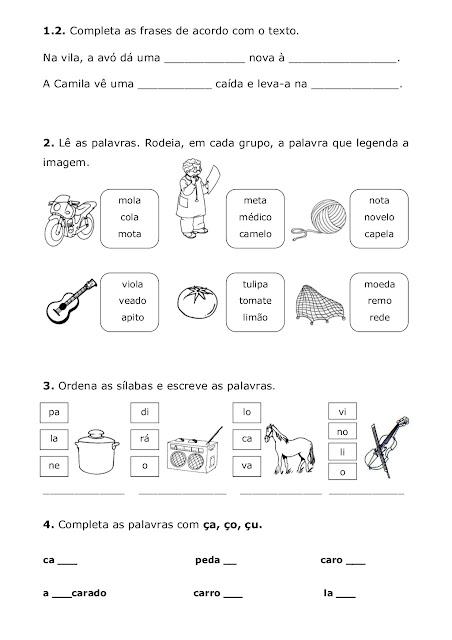 Teste de Avaliação Trimestral Português 1º ano.