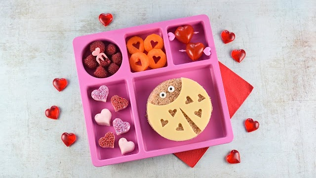 Cute Valentine's Lunch for Kids with Love Bug Sandwich