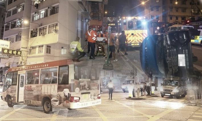 Tabrakan Antara Minibus Merah dan Mobil Pribadi di Kowloon City, 6 Orang Terluka