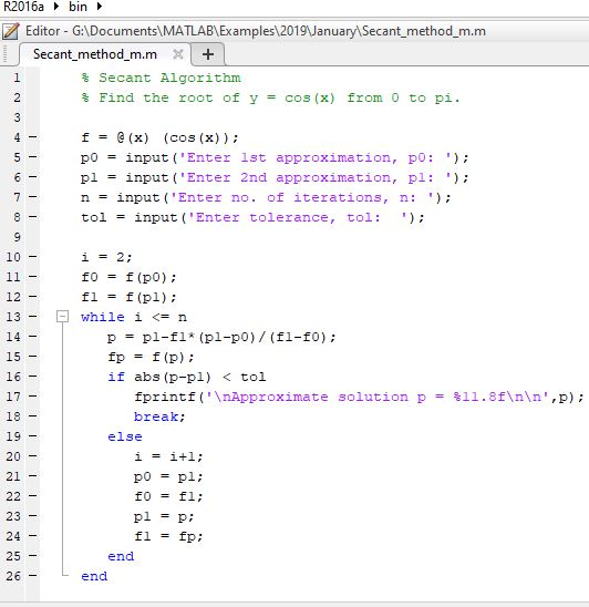 Secant Method for Solving non-linear equations in MATLAB