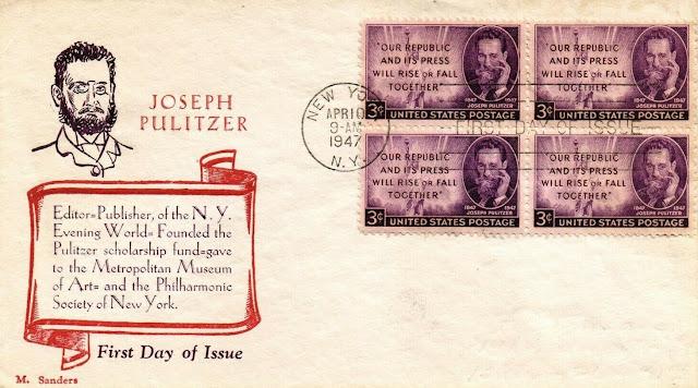 Joseph Pulitzer FDC