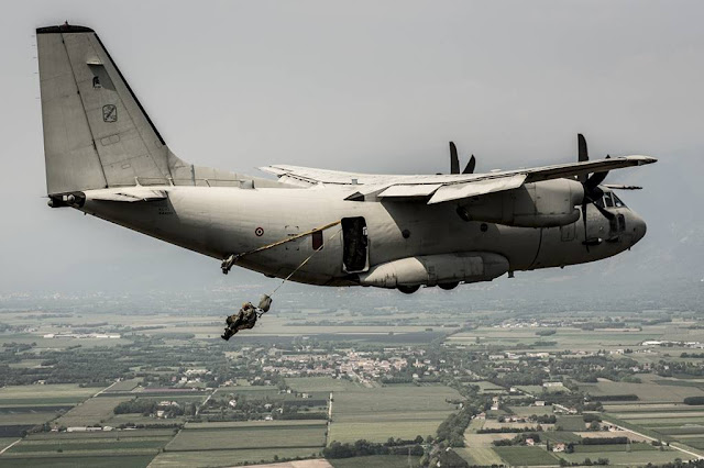 Italian Air Force tests launch paratroopers