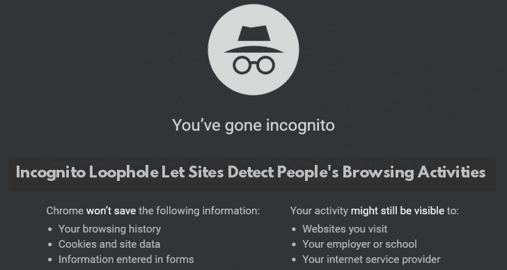 Chrome's Incognito Mode Loophole Let Sites to Detect People's Browsing Activities  - Incognito - Chrome's Incognito Lopehole Let Sites to Detect People's Browsing Activity