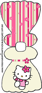 Hello Kitty with Flowers, Free Printable Dress Invitations.