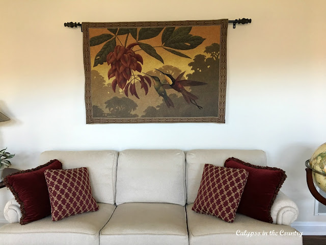 Living Room Pillows and Tapestry
