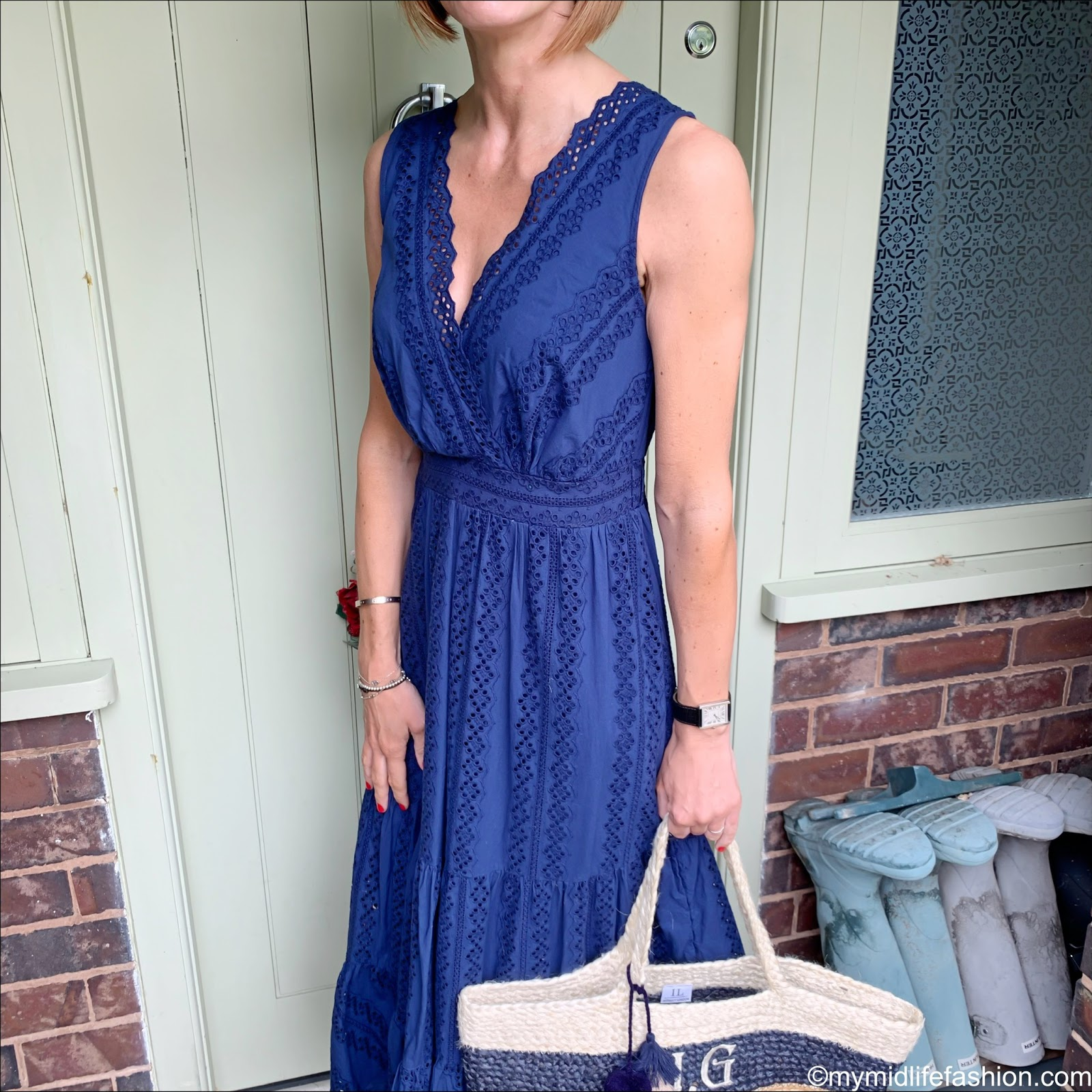 my midlife fashion, marks and Spencer pure cotton embroidered dress