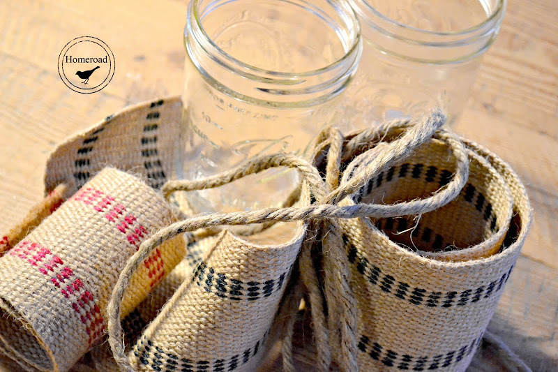Burlap Ribbon Tea Light Mason Jars