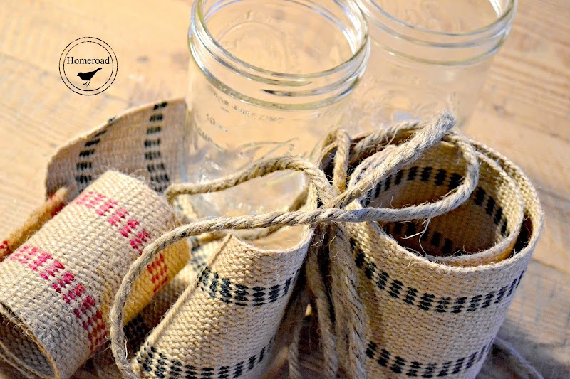 Burlap Ribbon Tea Light Mason Jars