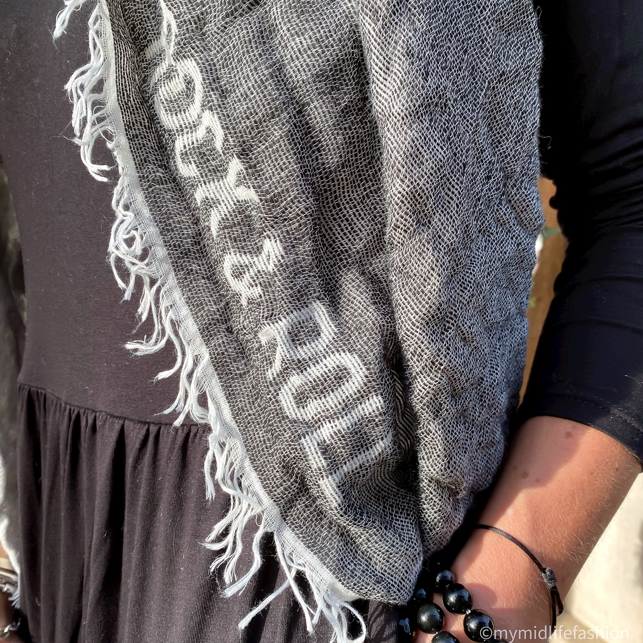 my midlife fashion, saint and Sofia rock and roll scarf