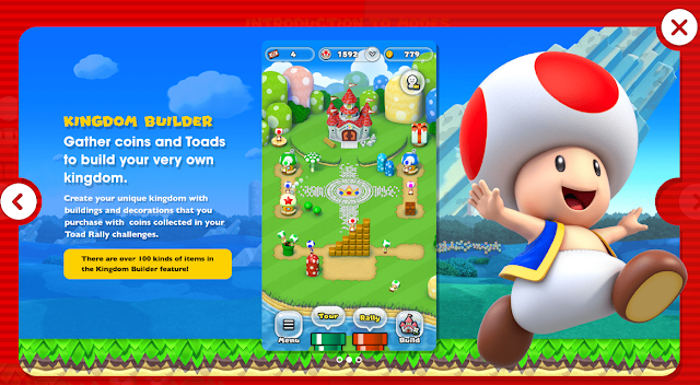 Super Mario Run Kingdom Builder mode Mushroom Toads coins dress-up game