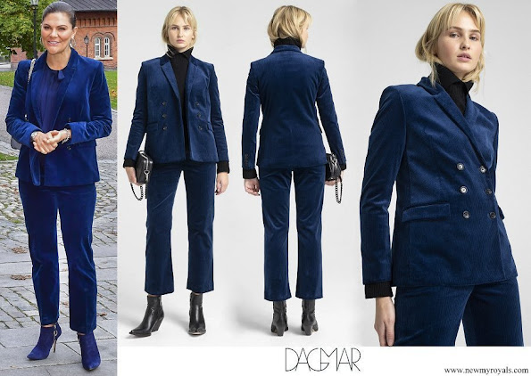 Crown Princess Victoria wore Dagmar Tuva cord suit navy suit blazer