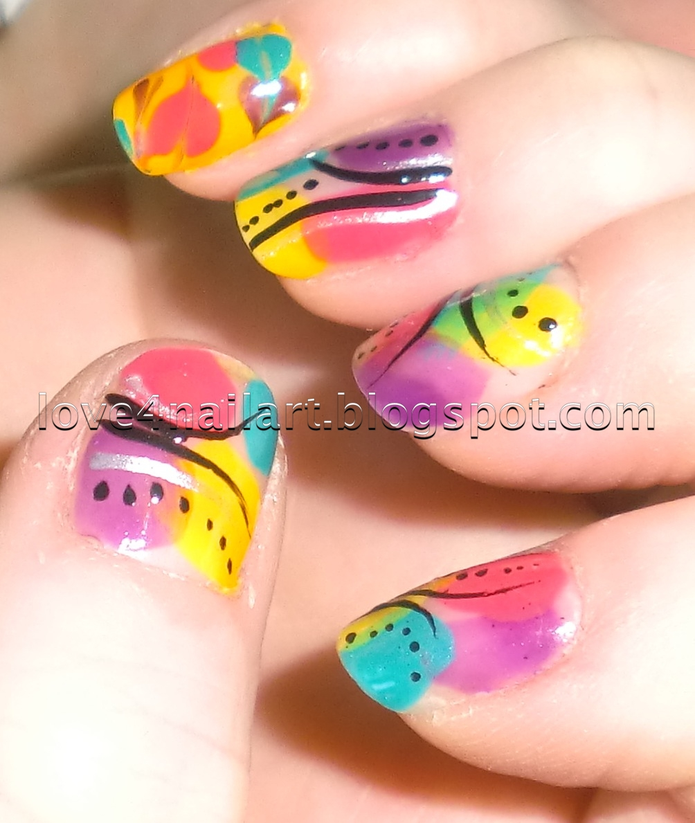 Love4NailArt: BRIGHT Abstract Nail Design: La Colors