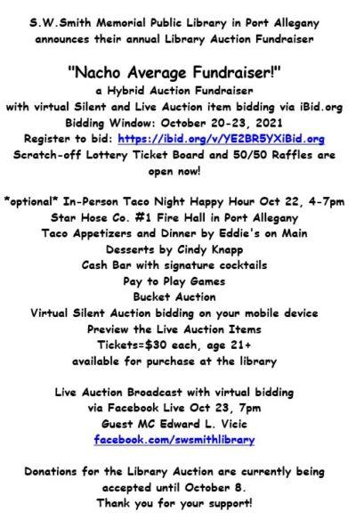 10-20 thru 23 SW Smith Auction Fundraiser, Port Allegany