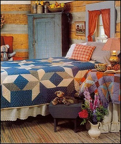 primitive americana decorating style - folk art - heartland decor - rustic Americana home decor - Colonial & Country style decorating Americana bedroom designs - Primitive Country Rustic decor
