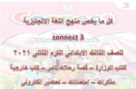 كل ما يخص منهج اللغة الانجليزية connect 3  للصف الثالث الابتدائى الترم الثانى 2021