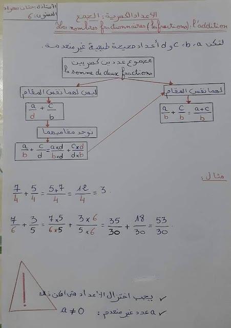 درس الأعداد الكسرية - الجمع و الطرح المستوى السادس ابتدائي