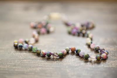 handmade gemstone necklace Rainbow Jade, Smoky Quartz, Hematite, Quartz, Green Aventurine, Amethyst, Rose Quartz, and Rhodonite