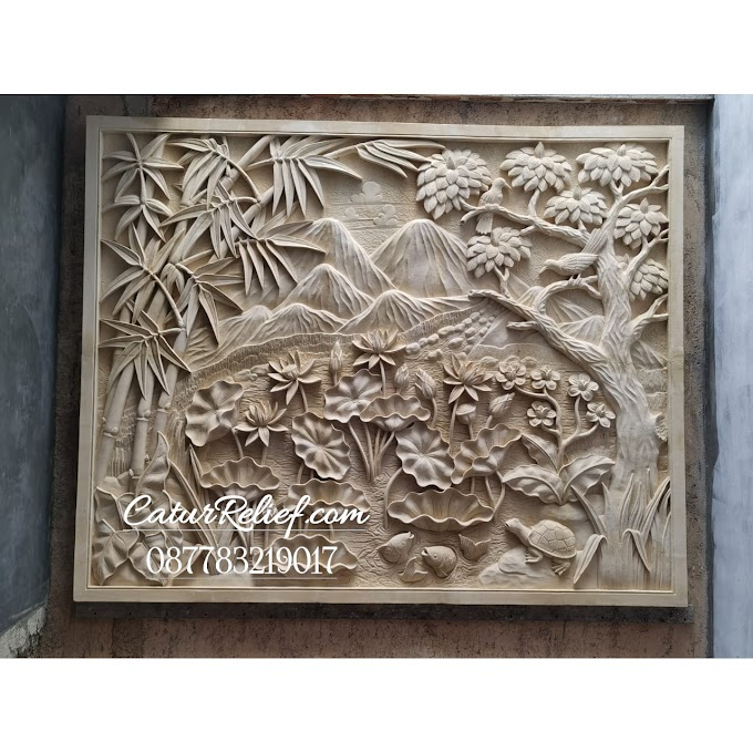 Hiasan dinding Relief motif pemandangan ukiran batu alam paras jogja