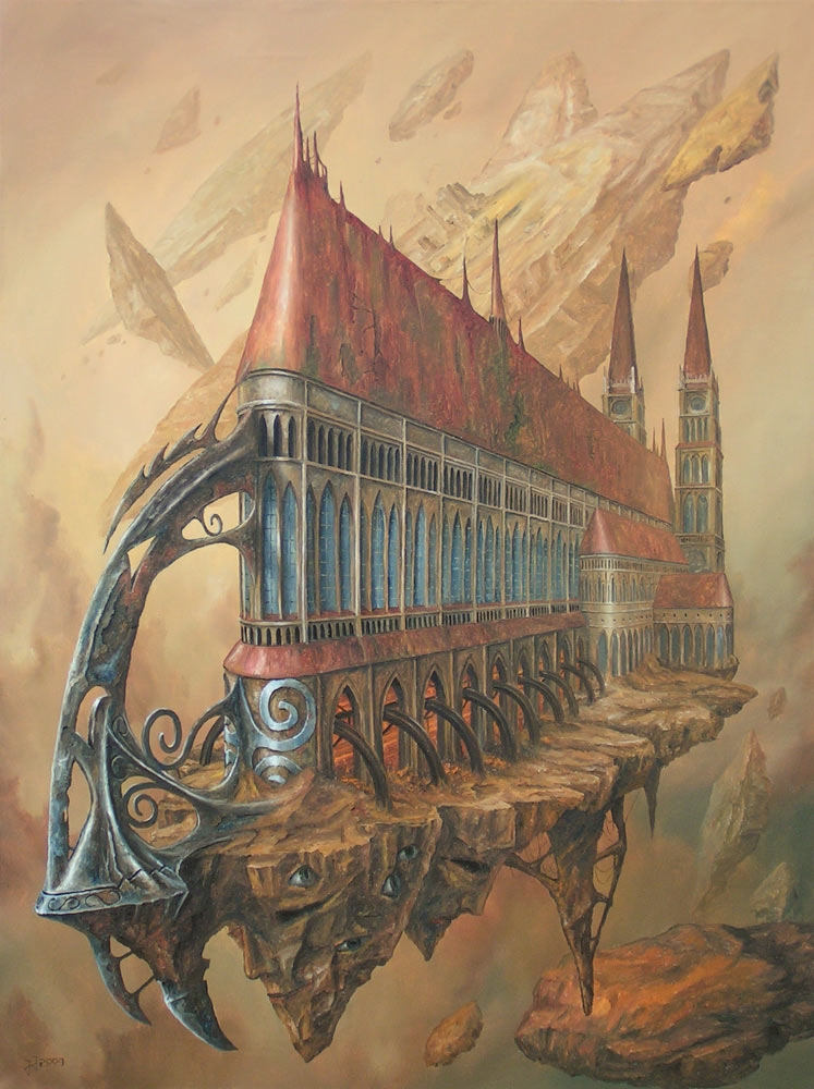 06-Lonely-frigate-Jaroslaw-Jaśnikowski-Paintings-of-Surreal-Architecture-with-Gothic-Undertones-www-designstack-co