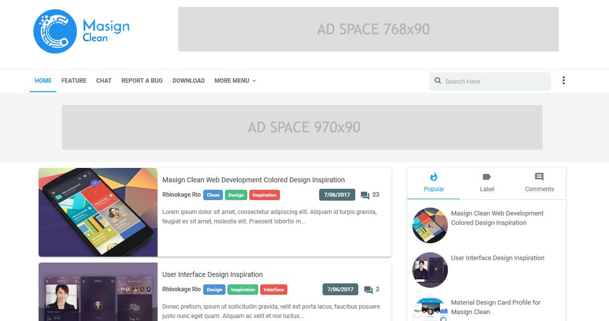 Masign Clean Premium Material Design Blogger Template 100% Gratis