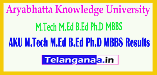 AKU Aryabhatta Knowledge University Results 2018 M.Tech M.Ed B.Ed Ph.D MBBS Results