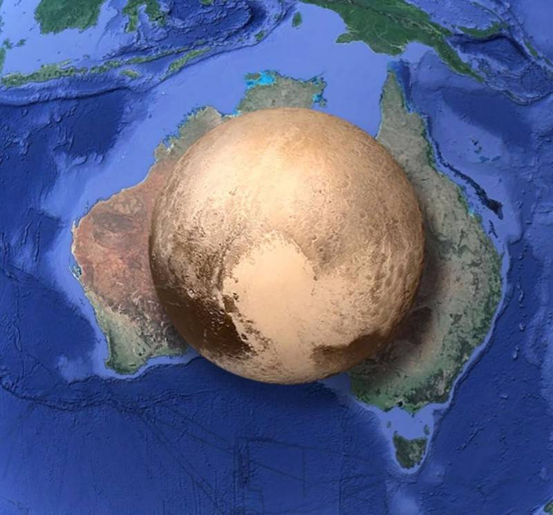 Map of Comparison of the sizes of Pluto and Australia