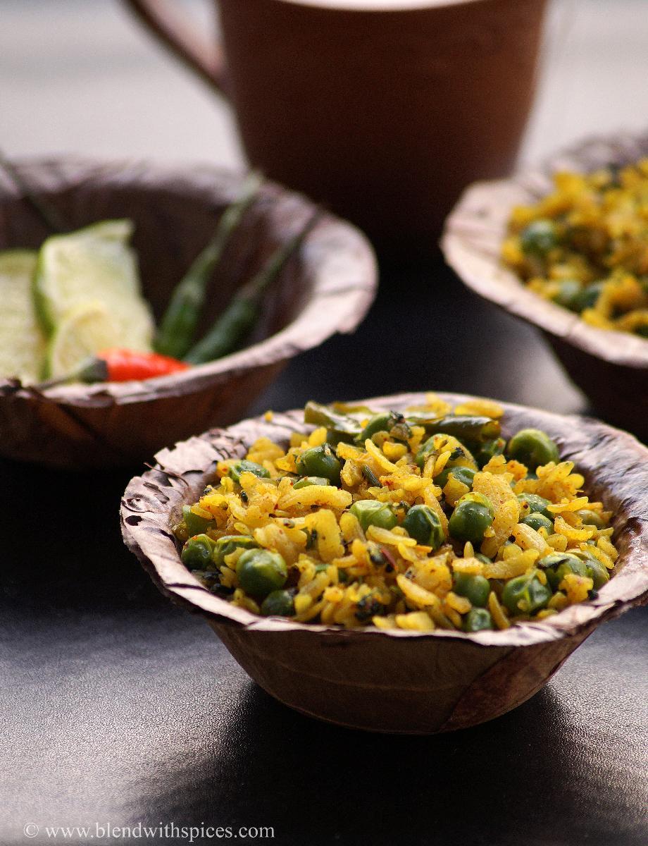 chura matar recipe, how to make peas poha, indian breakfast recipes, blendwithspices.com