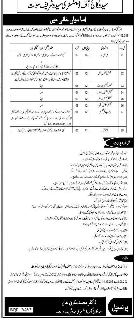 Saidu College of Dentistry Saidu Sharif Sawat Jobs 2021 in Pakistan