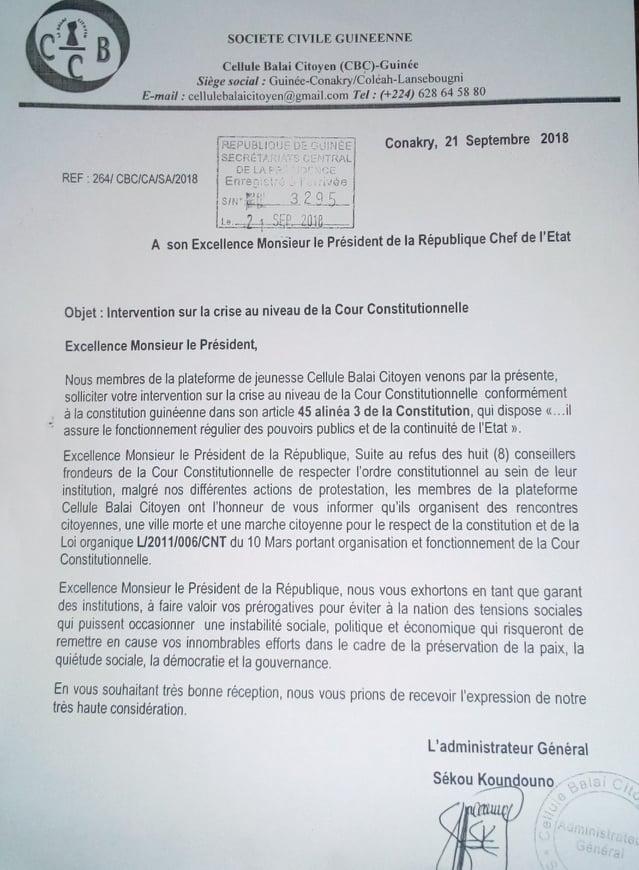 Guinée : Crise à la cour constitutionnelle, les membres de la plateforme de jeunesse cellule Balai Citoyen adressent une lettre au Président Alpha Condé