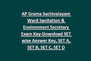 AP Grama Sachivalayam Ward Sanitation & Environment Secretary Exam Key-Download SET wise Answer Key, SET A, SET B, SET C, SET D
