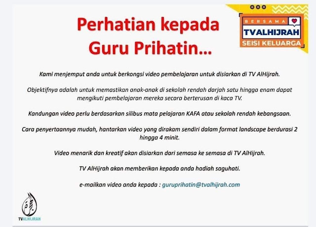 Jom Kongsi Video Pembelajaran Kelas KAFA di TV AlHijrah