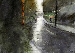水彩画 雨の情景
