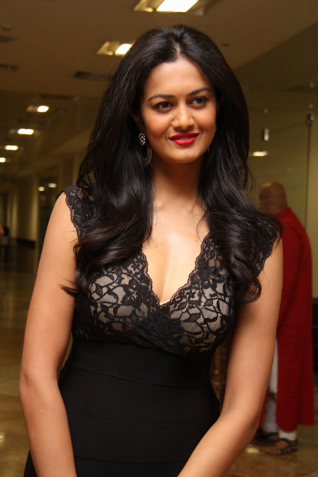 Shubra Aiyappa In Low Neck Black Gown At Miss Hyderabad Event