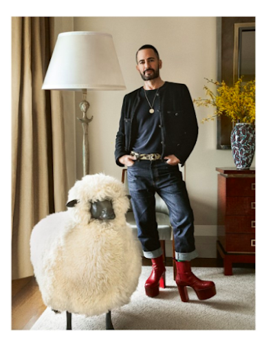 """Photo from Sotheby's of Marc Jacobs in his apartment with the Lalanne """"Mouton de Laine"""""""