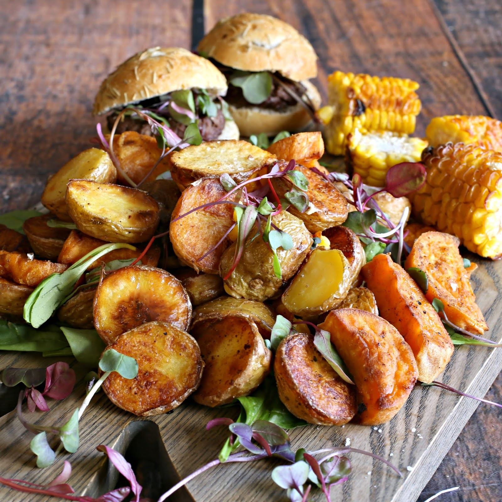 Recipe for a white and sweet potato salad roasted with ghee