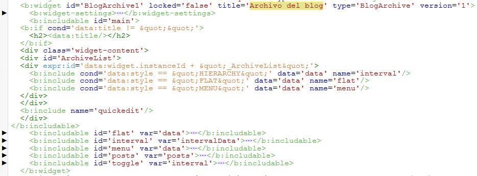 Código HTML widget Archivo del Blog en Blogger