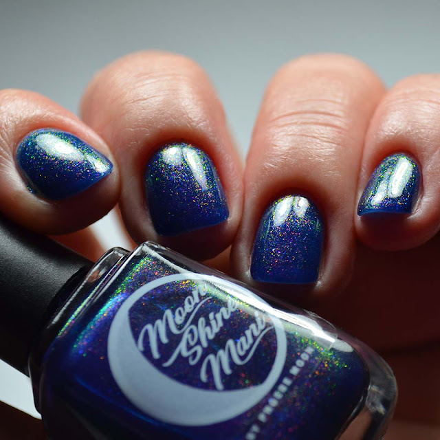 indigo shimmer holographic nail polish low light swatch