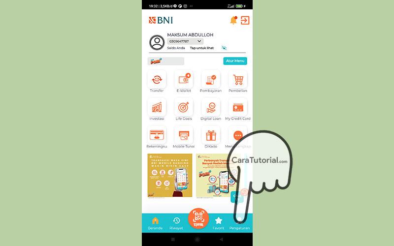 Beranda Aplikasi BNI Mobile Banking