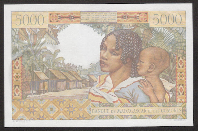 Madagascar money collecting 5000 Malagasy Franc banknote